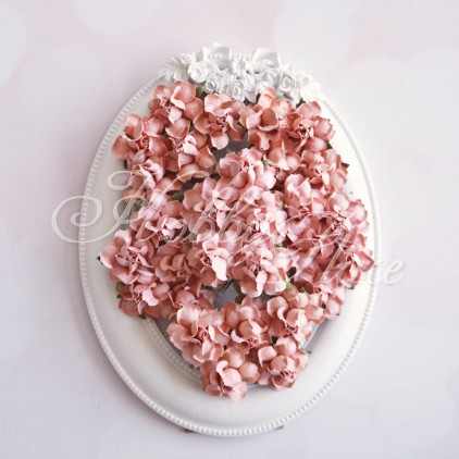 Powder coral paper roses set - 50 pcs