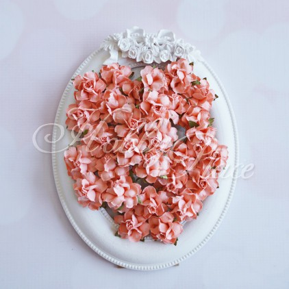 Light coral paper roses set - 50 pcs