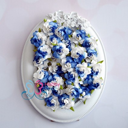 Papierowe róże - niebieskie cieniowane - zestaw 50 sztuk