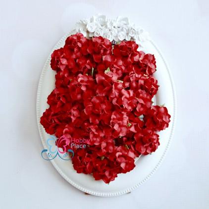 Red paper roses set - 50 pcs