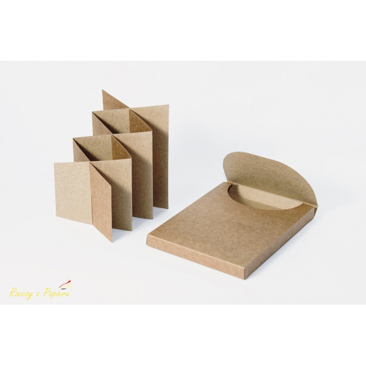 Pudełko pełne + bazado kartki kaskadowa/ harmonijka w kolorze kraft