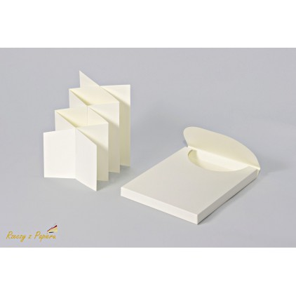 Box + cascade / harmonica card base in cream color