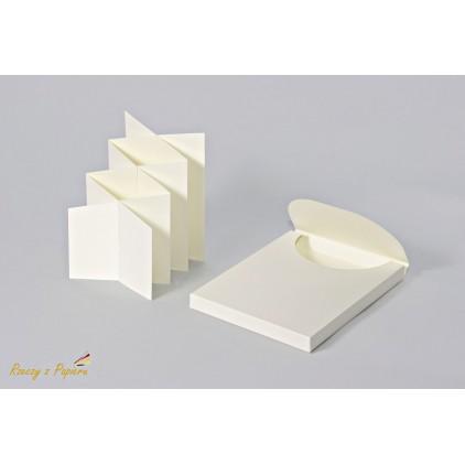 Pudełko pełne + baza do kartki kaskadowa/ harmonijka w kolorze kremowym