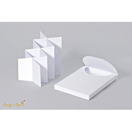 Box + cascade / harmonica card base in white color