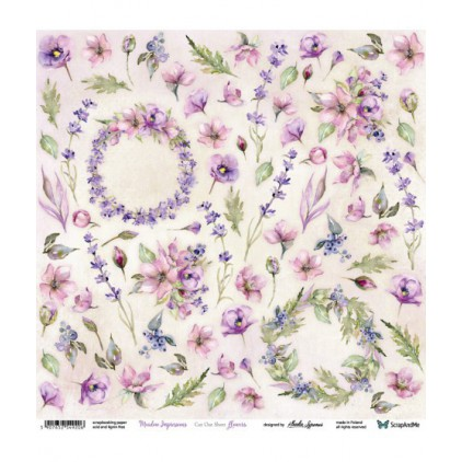 Scrapbooking paper 30 x 30 cm -flowers and wreaths - Meadow Impressions Flowers - ScrapAndMe