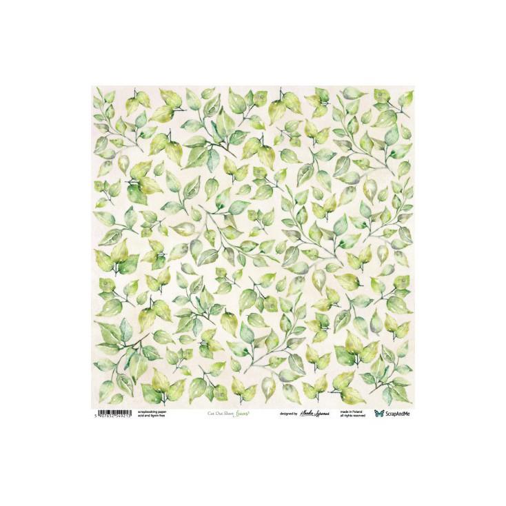 Papier scrapowy 30 x 30 cm - liście - ScrapAndMe
