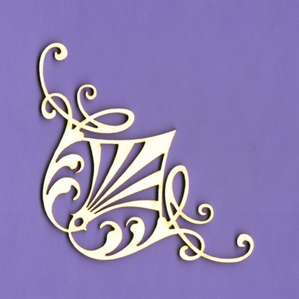 1363 - laser cut, chipboard corner Royall 13 - Crafty Moly