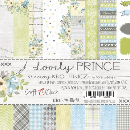 CC-ZPM-LPB-25A Set of papers 15 x 15 cm  - Lovely Prince - Craft O clock