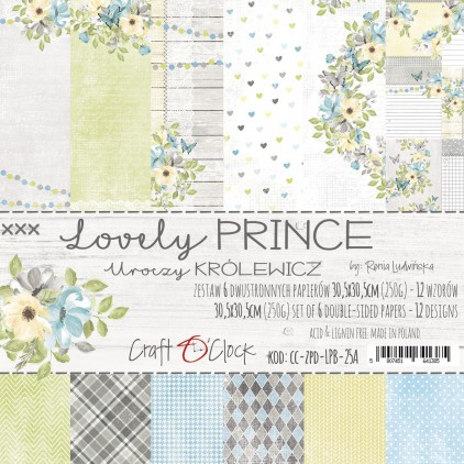 CC-ZPD-LPB-25A Set of papers 30 x 30 cm  - Lovely Prince - Craft O clock