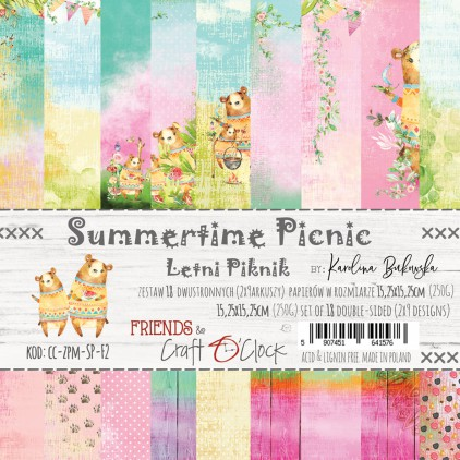 CC-ZPM-SP-F2 Set of papers 15 x 15 cm - Summertime Picnic - Craft O clock