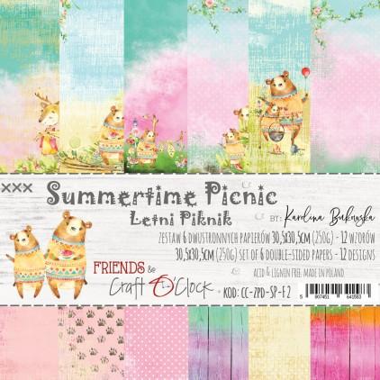 CC-ZPD-SP-F2 -Zestaw papierów 30 x 30 cm - Zestaw papierów 15 x 15 cm Summertime Picnic - Summertime Picnic - Craft O clock