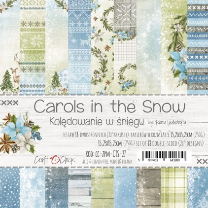 CC-ZPM-CTS-27 Set of papers 15 x 15 cm - Carols in the snow  - Craft O clock