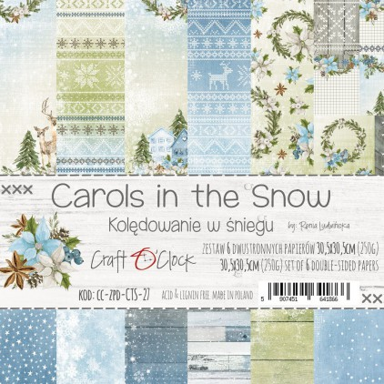 CC-ZPD-CTS-27 Set of papers 30 x 30 cm  - Carols in the snow - Craft O clock