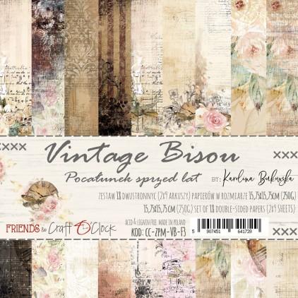 CC-ZPM-VB-F3 -Zestaw papierów 15 x 15 cm - Vintage Bisou - Craft O clock