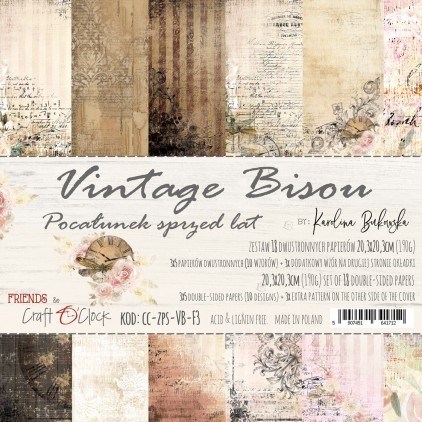 CC-ZPS-VB-F3 Set of papers 20 x 20 cm  - Vintage Bisou - Craft O clock