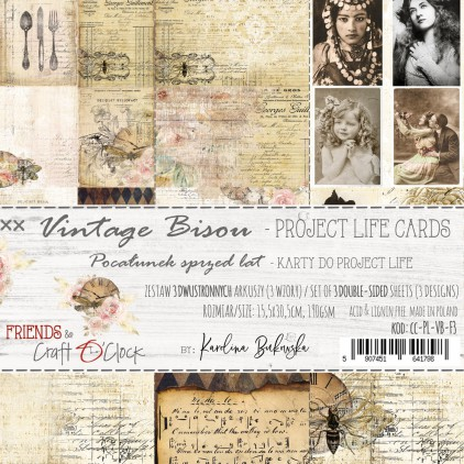 CC-PL-VB-F3 Set of cards Project Life -Vintage Bisou - Craft O Clock