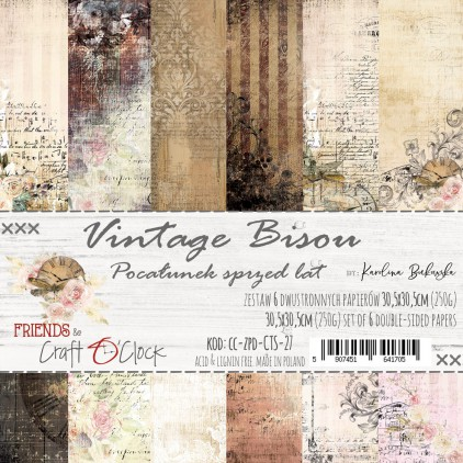 CC-ZPD-CTS-27 Set of papers 30 x 30 cm  - Vintage Bisou - Craft O clock