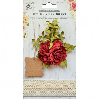 CR76605 scrapbooking flowers and crochet lace - Little Birdie -  Evelynn Regal Red