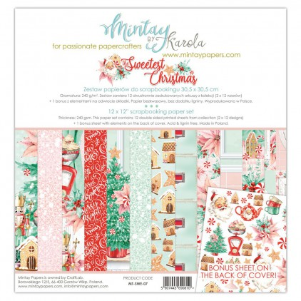 MT-SWE-07 Set of papers 30 x 30 cm  - The Sweetest Christmas - Mintay papers