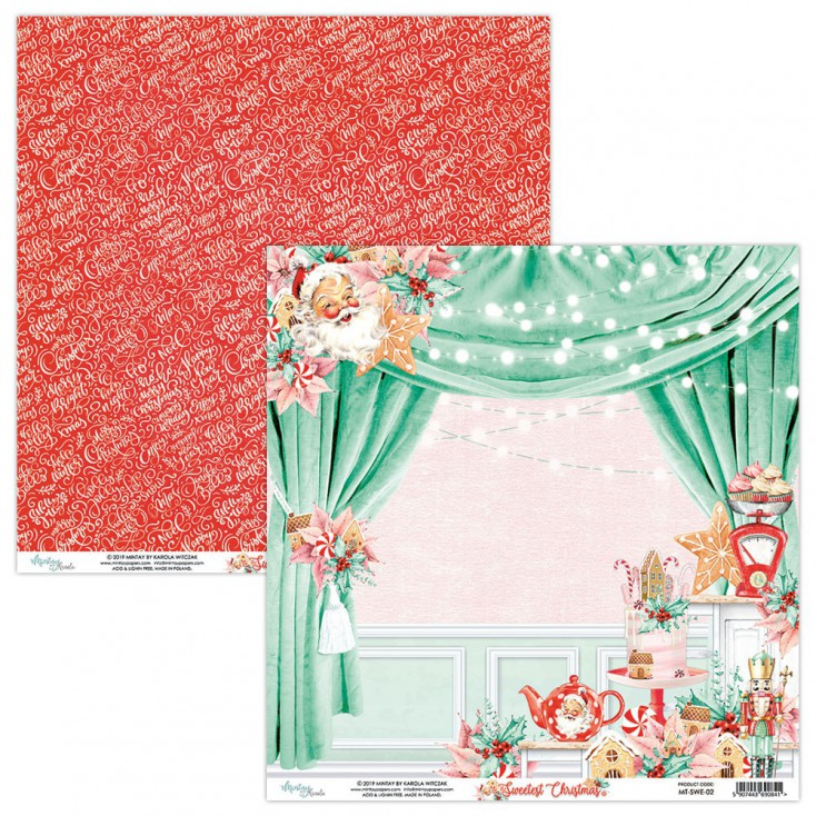 The Sweetest Christmas.Mt Swe 02 Scrapbooking Paper 30 X 30 Cm The Sweetest Christmas Mintay Papers