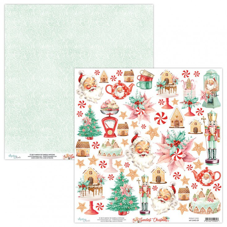 MT-SWE-09 Scrapbooking paper 30 x 30 cm -The Sweetest Christmas - Mintay Papers