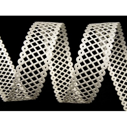 Openwork grille satin tape cream