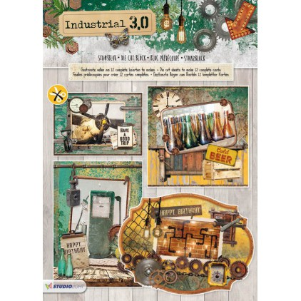 Industrial 3,0 - Scrapbooking Die cut block - A4 (21x29,9cm) - Studio Light - STANSBLOKIN75