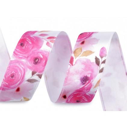 Wstążka satynowa w różowe kwiatki