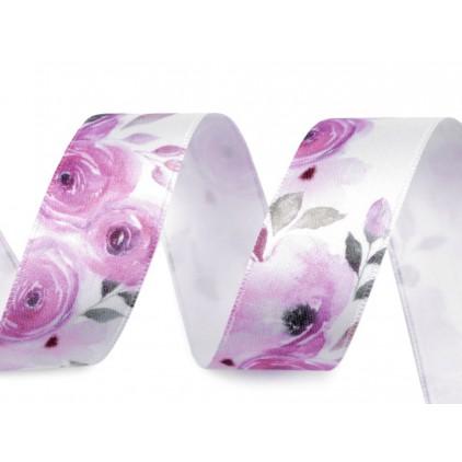 Wstążka satynowa w fioletowe kwiatki