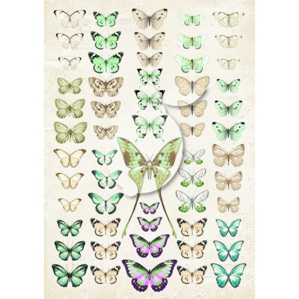 LP-VT042 Scrapbooking paper - Vintage Time 042 - Lemoncraft - My sweet Provence - Green butterflies