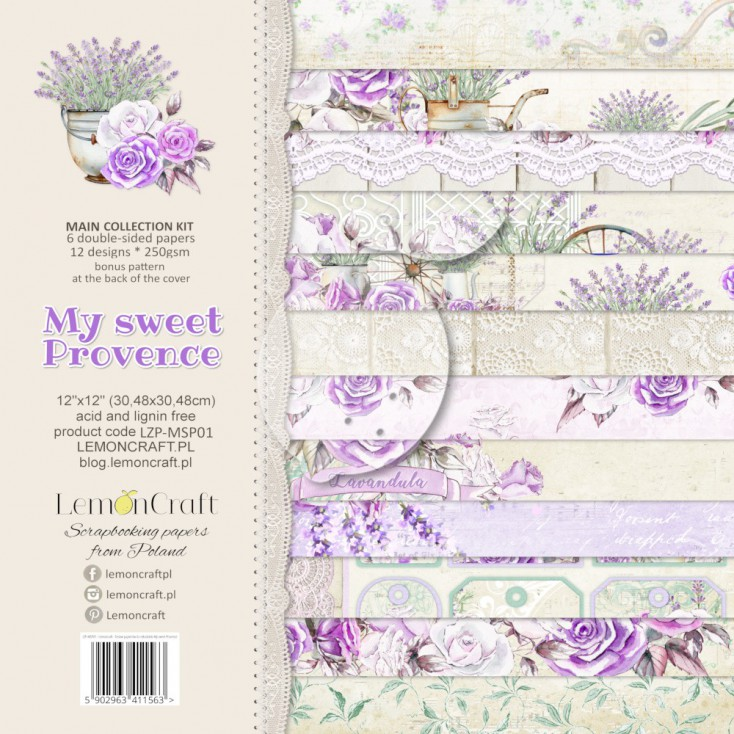 LZP-MSP01 - Set of scrap papers 30x30cm - Lemoncraft -My sweet Provence