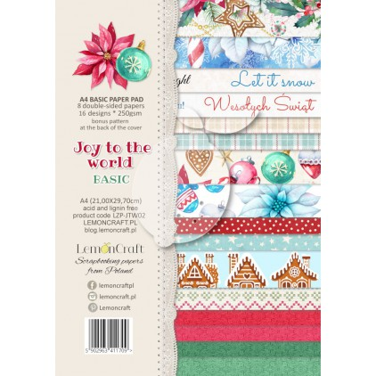 LZP-JTW02 - Pad scrap papers 21x29cm - Lemoncraft - Joy to the world Basic
