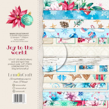LZP-JTW01 - Set of scrap papers 30x30cm - Lemoncraft - Joy to the world