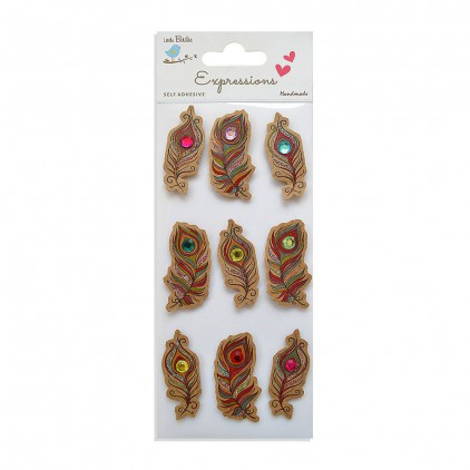 CR55771 Kraft Doodles Peacock Feather - Stickers set - Little Birdie