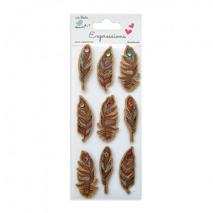 CR55794 Kraft Printed Feathers - Stickers set - Little Birdie