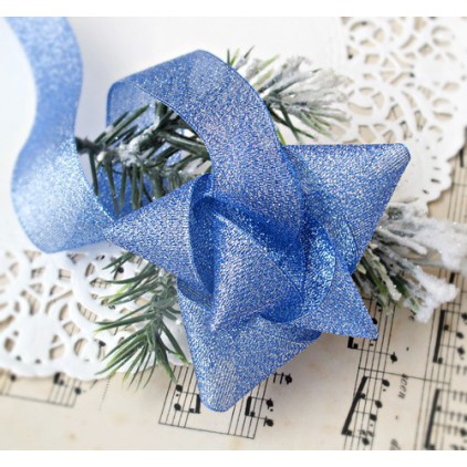 Blue brocade ribbon