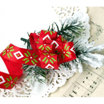 Wstążka satynowa czerwona ze wzorem bożonarodzeniowym