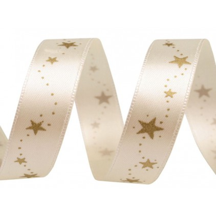 Cream satin ribbon with golden stars