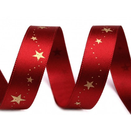 Burgundy satin ribbon with golden stars