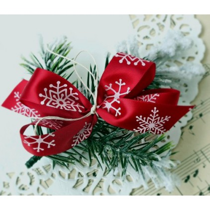 Burgundy satin ribbon with snowflakes