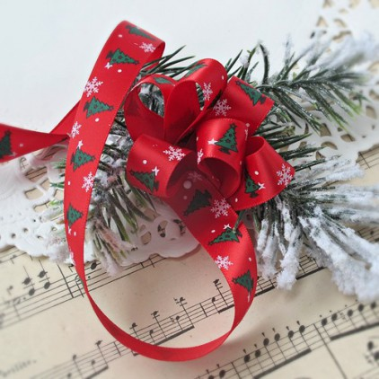 Red satin ribbon in Christmas trees