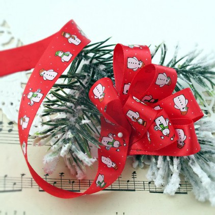 Red satin ribbon with snowmen