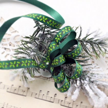 Green satin ribbon with holly