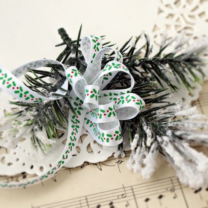 White satin ribbon with holly