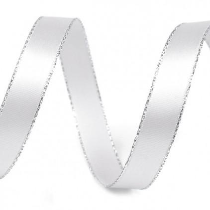 Wstążka satynowa biała ze srebrnym brzegiem