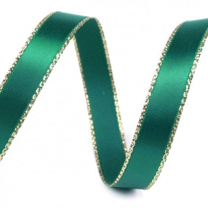 Emerald satin ribbon with golden edge