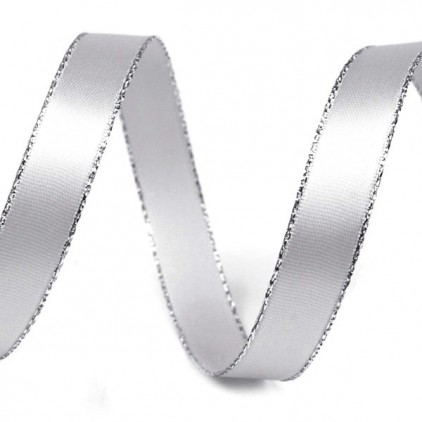 Silver satin ribbon with silver edge