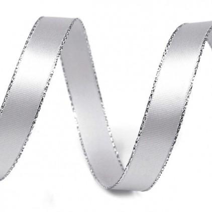Wstążka satynowa srebrna ze srebrnym brzegiem