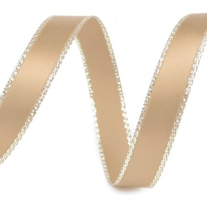 Bright nutty satin ribbon with golden edge