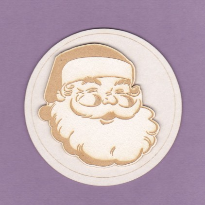 485k - laser cut, chipboard Santa Claus in a circle - 2 layers - Crafty Moly